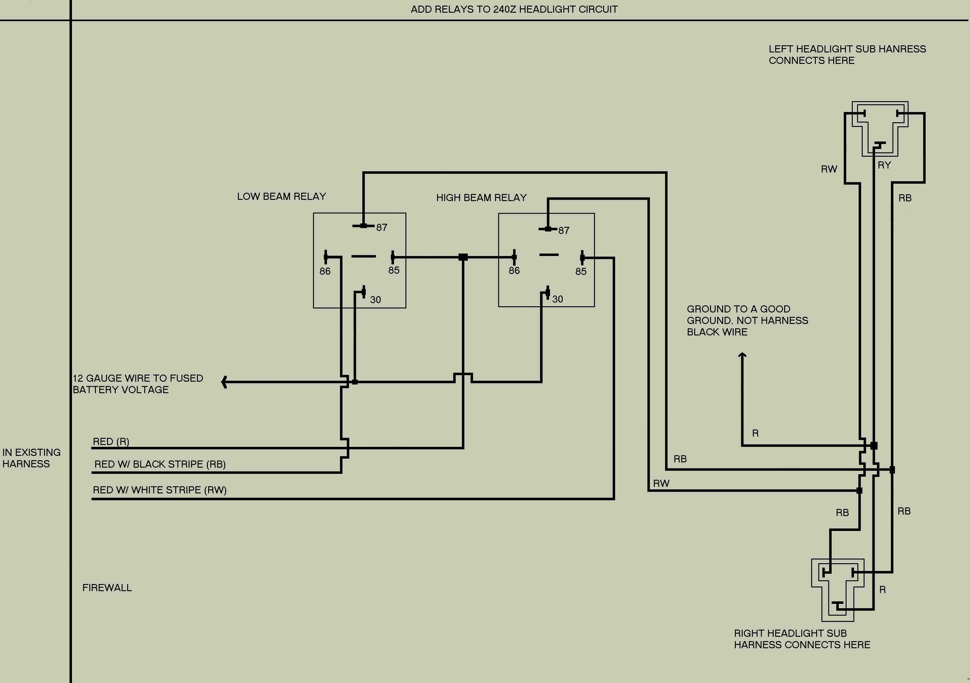 240z headlight relay mod click here for a circuit diagram